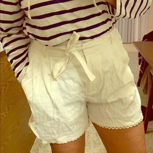 High waisted linen shorts